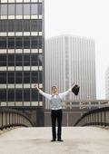 Businessman with his arms outstretched